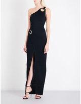 Balmain Eyelet-detailed asymmetric knitted maxi dress