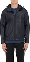 Theory Men's Byrn Leather Hooded Jacket-NAVY