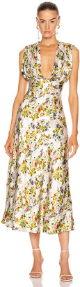 MARKARIAN Donna Plunging Ruched Dress in Green Floral | FWRD