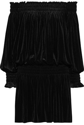 Norma Kamali Off-the-shoulder Shirred Velvet Mini Dress