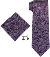 Landisun Paisley Mens Silk Necktie Set: Tie+Hanky+Cufflinks 104 True Red