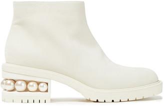 Nicholas Kirkwood Faux Pearl-embellished Nubuck Ankle Boots