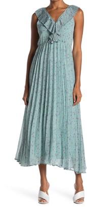 MelloDay Pleated V-Neck Crepe Maxi Dress