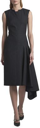 Alexander McQueen Asymmetric Draped Sleeveless Cocktail Dress