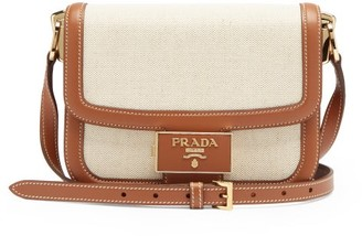 Prada Embleme Canvas And Leather Cross-body Bag - Tan Multi