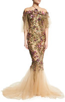 Marchesa Floral-Embroidered Halter Mermaid Gown, Nude/Multi