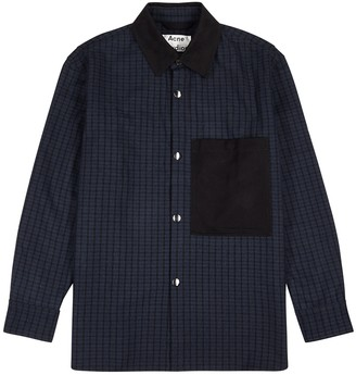 Acne Studios Vichy navy checked wool-blend jacket