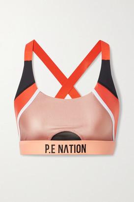 P.E Nation Block Pass Metallic Color-block Stretch Sports Bra - Antique rose