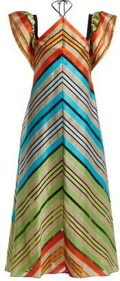 Mary Katrantzou Kahlo Chevron-stripe Organza Dress - Womens - Multi