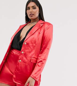 Club L London Plus satin blazer dress in raspberry-Pink