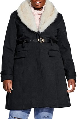 City Chic Belted Jacket with Faux Fur Collar
