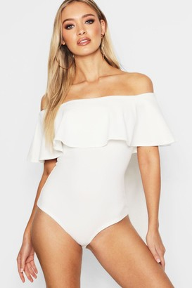 boohoo Crepe Frill Off The Shoulder one piece