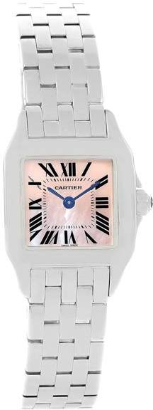 Cartier Santos Demoiselle W25075Z5 Pink Mother of Pearl Dial Stainless Steel 22mm Womens Watch