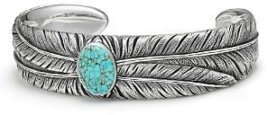 David Yurman Southwest Wide Feather Cuff Bracelet with Turquoise