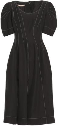 Marni Pleated Ramie-blend Midi Dress