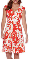 London Times London Style Collection Cap-Sleeve Floral Fit-and-Flare Dress - Petite