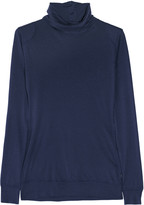 Cotton and silk-blend jersey turtleneck top