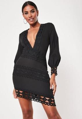 Missguided Crochet Lace Plunge Mini Dress