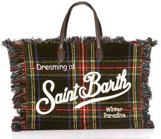 MC2 Saint Barth Blue Tartan Bag With Embroidered White Logo