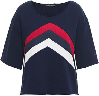 Perfect Moment Cropped Color-block French Cotton-terry Top