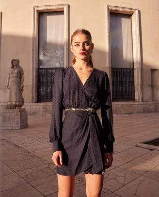 The Kooples Blue wrap dress with shoulder pads
