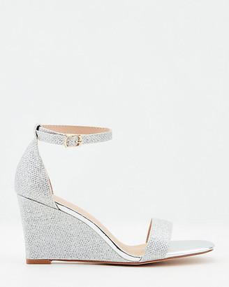 Le Château Glitter Mesh Square Toe Wedge Sandal