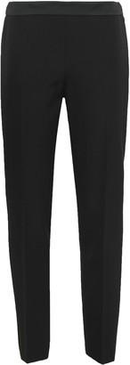 Moschino Satin-trimmed Wool-twill Slim-leg Pants