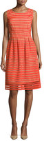 Lela Rose Felicia Sleeveless Windowpane Lace Dress, Red