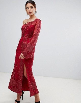 Bariano one shoulder embroidered lace midi dress in red