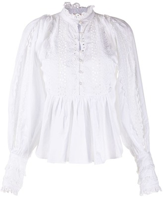 By Ti Mo Ruffled Cotton Blouse
