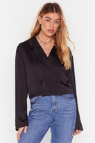 Womens So Sleek Satin Cropped Blazer - black - 4