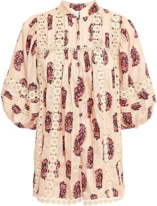 Zimmermann Appliqued Printed Linen Blouse