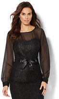New York & Co. 7th Avenue - Lace-Accent Peplum Blouse