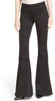 Alice + Olivia 'Ryley' Animal Print Velour Flare Leg Pants