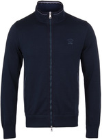 Paul & Shark Navy Zip Through Shark Fit Long Sleeve Sweatshirt