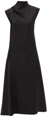 Jil Sander Tie-neck Charmeuse Midi Dress - Black