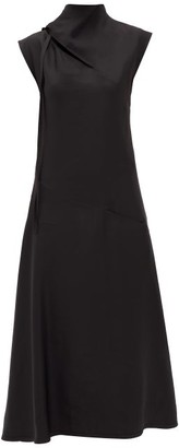 Jil Sander Tie-neck Charmeuse Midi Dress - Womens - Black