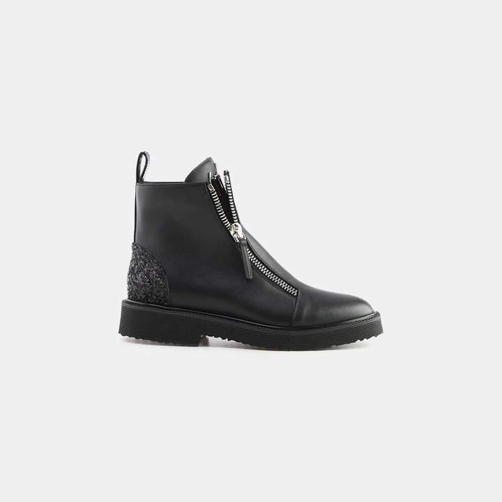 Giuseppe Zanotti Florida Glitter Back Dual Zipper Leather Boot