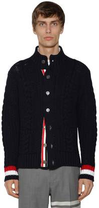 Thom Browne HIGH COLLAR WOOL ARAN CABLE CARDIGAN