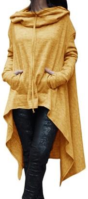 EMMA Women's Autumn Asymmetric Hem Pockets Pullover Sweatshirts Hooded Poncho Sweater Plus Size Loose Long Hoodie Dress(PE S)