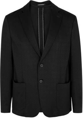 Emporio Armani Black Intarsia Stretch-knit Blazer