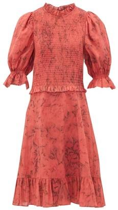Sea Mimi Smocked Floral-print Dress - Womens - Red Print