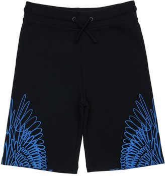 Marcelo Burlon County of Milan Wings Print Cotton Sweat Shorts