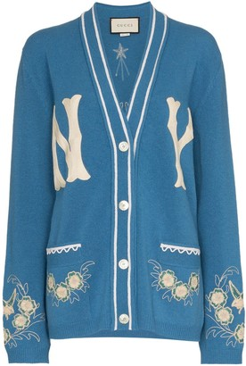 Gucci NY Yankees patch embroidered wool cardigan