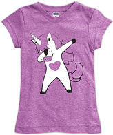 Urban Smalls Mauve Dabbing Unicorn Fitted Tee - Toddler & Girls