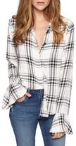 Sanctuary Petite Women's Nightscape Plaid Ruffle Cuff Shirt