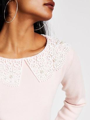 Ri Petite Lace Collar Jumper - Pink