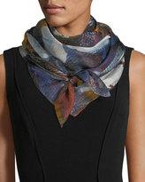 Neiman Marcus Brushstroke-Print Silk Scarf
