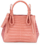 Nancy Gonzalez Crocodile Medium Knotted Top-Handle Bag, Rose/Pink