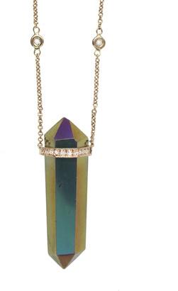Jacquie Aiche Titanium Quartz Double Point Crystal Necklace - Rose Gold